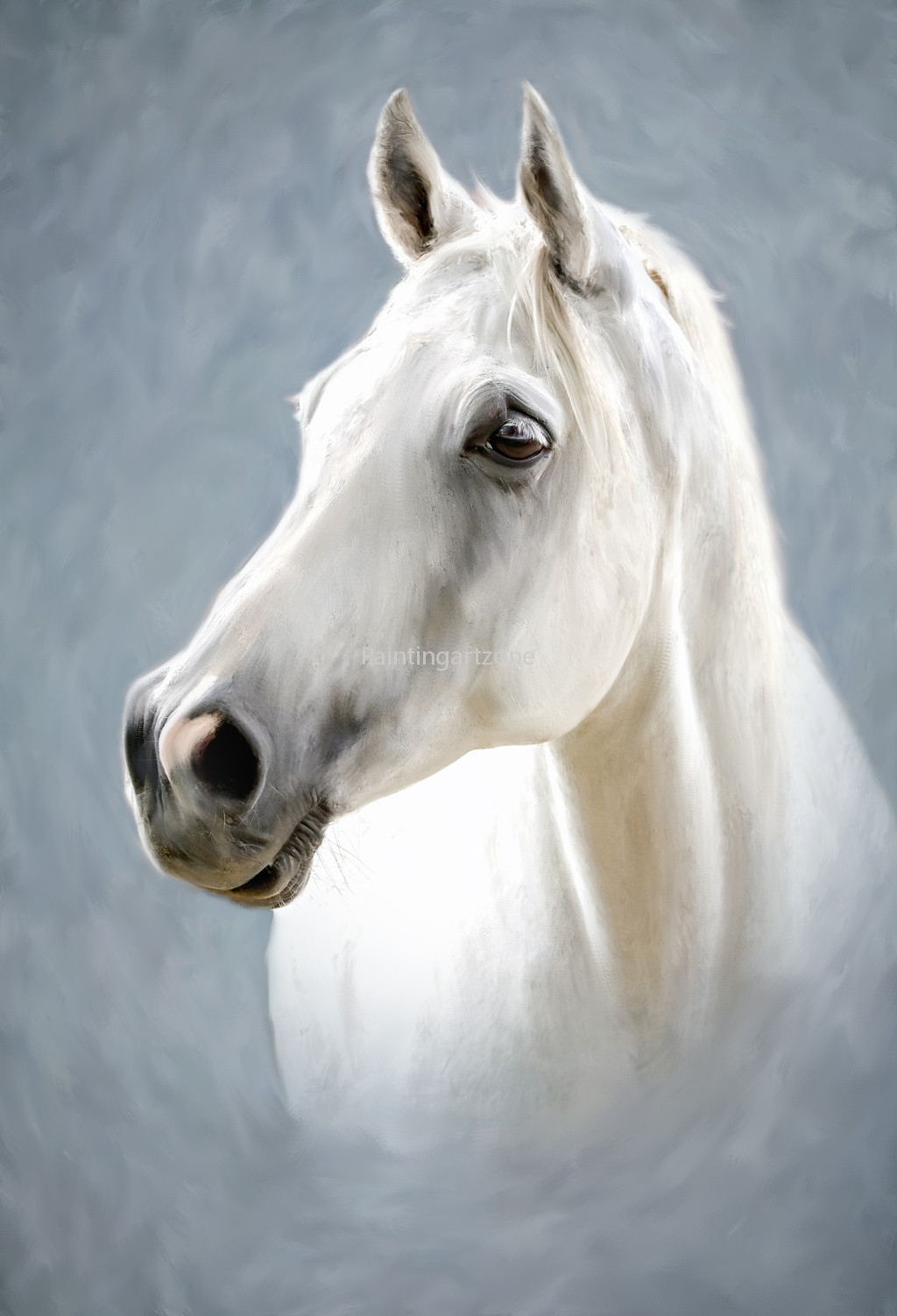 Hand Painted White Horse Canvas Oil Painting