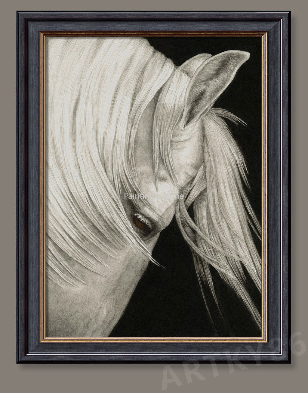 Hand Painted White Horse Head Oil Painting