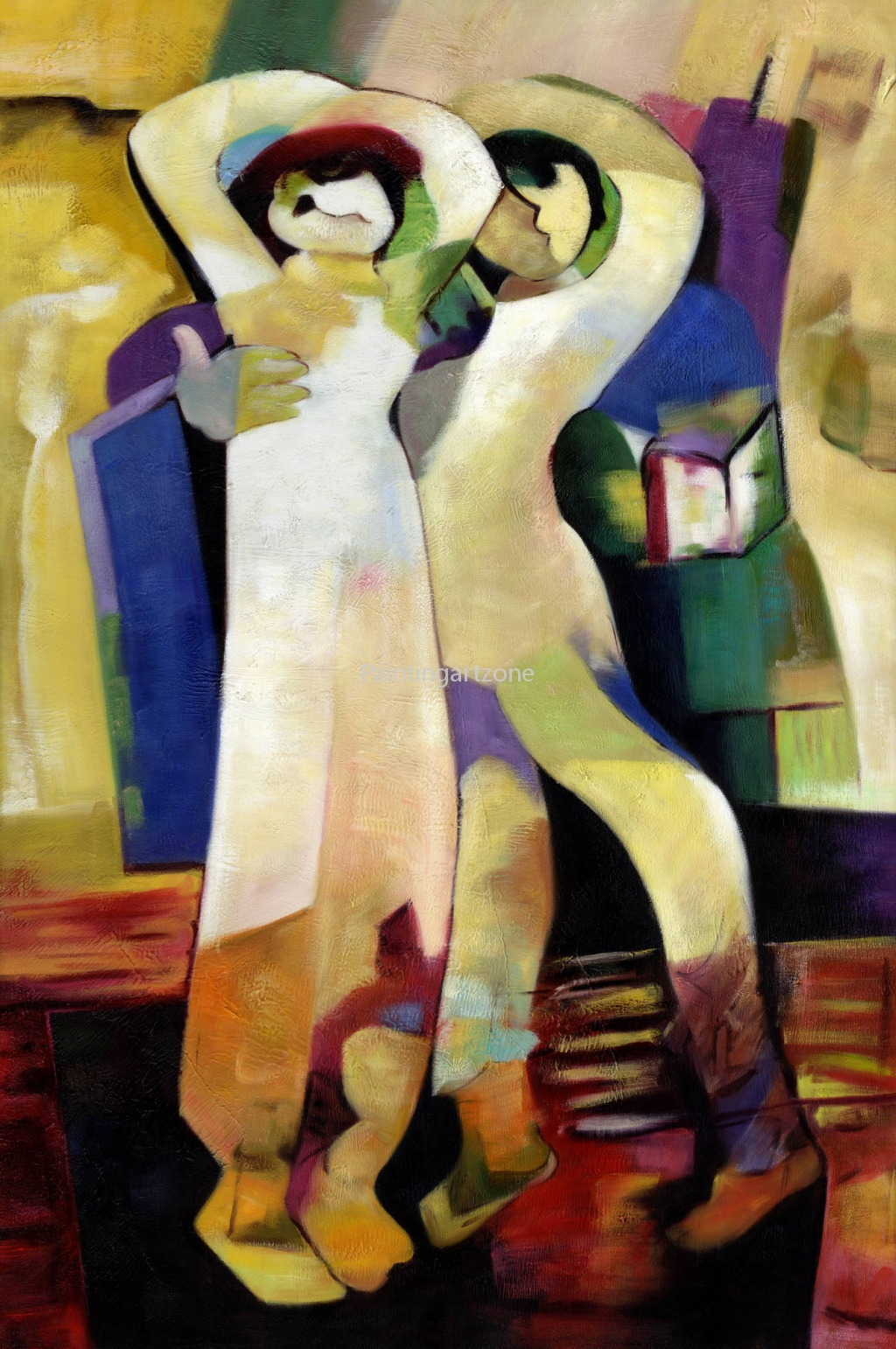 Abstract Couple Oil Painting On Canvas For Home Decoration
